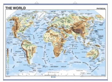 Map Of The World In English.Edigol Wall Maps 100 X 140 Cm The World Physical Political Ref